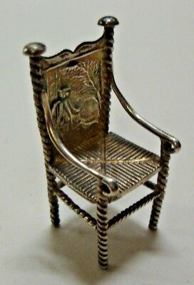 Antique continental silver marked miniature dolls house chair