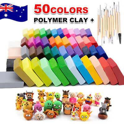 50PCS DIY Craft Malleable Fimo Polymer Modelling Soft Clay Block Set With Tools