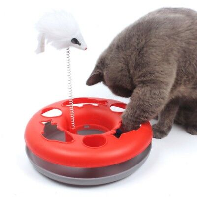 Cute Pet Cat Floating Fish Interactive Toys Funny Disc Kitten Rolling Ball Board