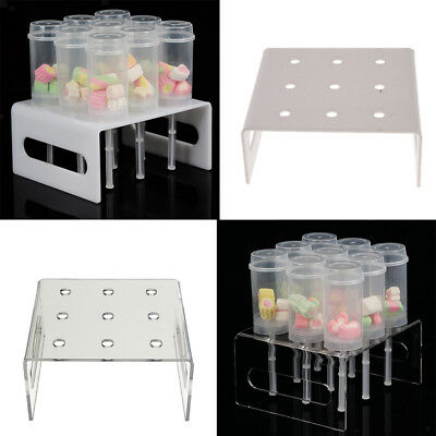 9 Holes Acrylic Dessert Cake Pusher Pop Display Stand Serving Platter Rack