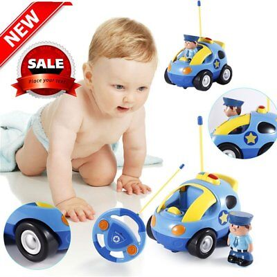 Kids Baby Toddlers Cartoon Police RC Race Car Remote Control Car Toys Gift HC