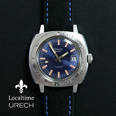 URECH (Swiss) 'Navy' 20ATM Vintage Diving Steel Watch Automatic ETA Cal. 2782