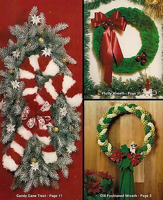 Candy Cane Wall Decor & Wreath Patterns - Vintage #404 Macrame A Merry Christmas