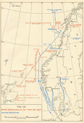 World War 2 Invasion of Norway. Naval Movements 7-9 April 1940 1952 old map