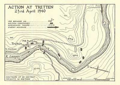 World War 2 Norway Campaign Tretten 23 April 1940 German Invasion SMALL 1952 map