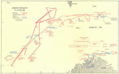 ARCTIC. Convoys PQ 17 & QP 13 3rd-6th July 1942 1956 old vintage map chart