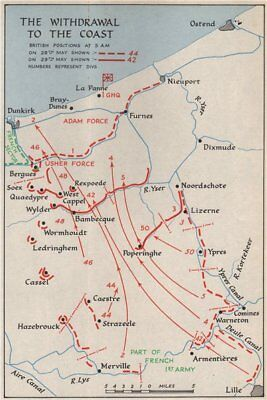 DUNKIRK EVACUATION. 28-29 May 1940 troop positions. Operation Dynamo 1953 map