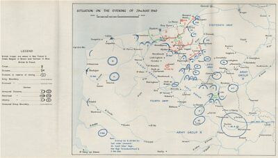 DUNKIRK EVACUATION. 29 May 1940 troop positions. Operation Dynamo. HMSO 1953 map
