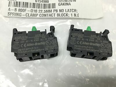 Lot of 2 Allen Bradley 800F-Q10 Spring-Clamp Contact Blocks Normally Open 22.5mm