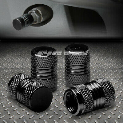 4 X Aluminum Metal Tire/Rim Valve/Wheel Air Port Dust Cover Stems Cap/Caps Black