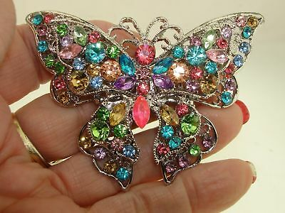 Beautiful Large Vintage Silver Filigree Pastel Rhinestone Butterfly Pin!