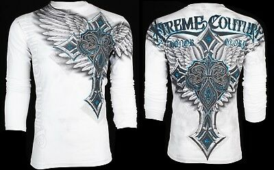 XTREME COUTURE by AFFLICTION Mens LONG SLEEVE T-Shirt LAST BLOW Biker $40