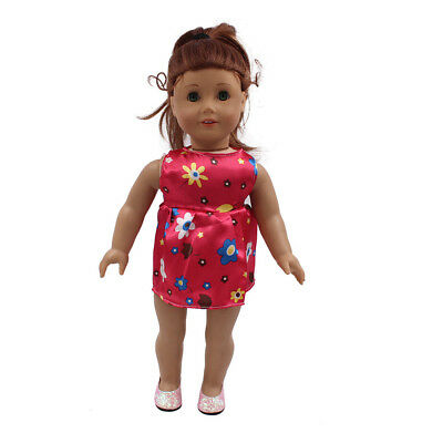 Fit For 18'' American Girl Sundress New Gift Red Flower Party Dress Doll Clothes