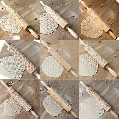 Christmas Pattern Wooden Rolling Pin Carved Wood Embossing Gift Biscuits