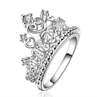 Women Princess Queen Crown 925 Silver Plated Ring Wedding Crystal Zircon Ring