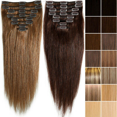 Clip In Remy Real Full Head 100% Human Hair Extensions Long/Short Clearance T842