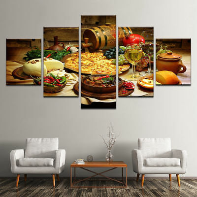 Restaurant Kitchen Food Wine 5 piece canvas Wall Art Home Decor Picture Print