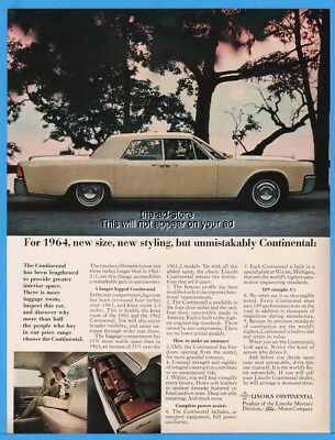 1964 Lincoln Print Ad White Continental Sedan Suicide Doors 9 99