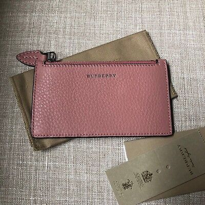 new arrival 27a87 08760 NEW BURBERRY TWO-TONE Leather Zip Card Case Holder Dust Rose