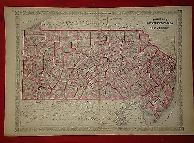 Vintage 1868 PENNSYLVANIA MAP Old Antique Original Atlas Map