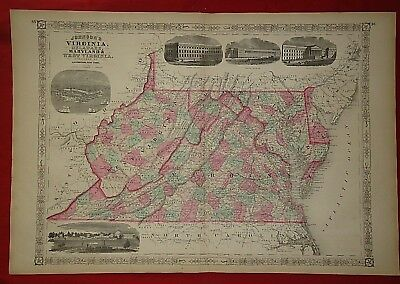 Vintage 1868 VIRGINIA WEST VIRGINIA MAP Old Antique Original Johnson Atlas Map