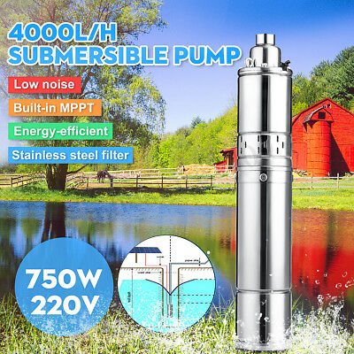 220V 750W 4000L/H Stainless Steel MPPT Submersible Water Pump Bore Deep Well 75M