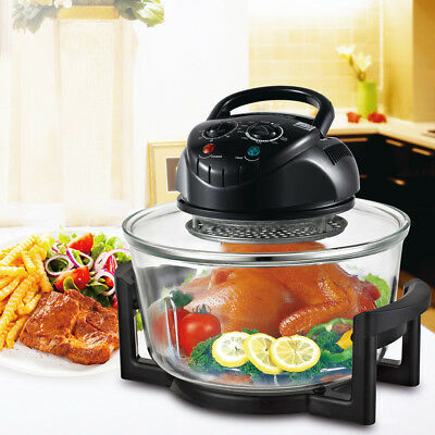 1200W 12 Quart Halogen Convection Countertop Tabletop Glass Air Fry Oven Cook