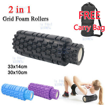 2in1 Foam Roller Yoga Grid Trigger Point Massage Pilates Physio Gym Exercise EVA