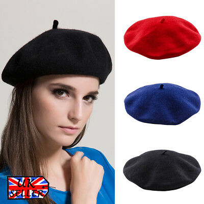 Womens Girls French Beret Hats Real Wool Winter Plain Hat Ladies Beret Beanie