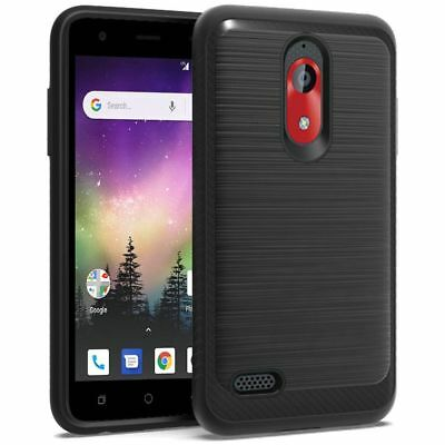 For Coolpad illumina 3310 Brushed Carbon Fiber Accent Hybrid Cover Phone Case
