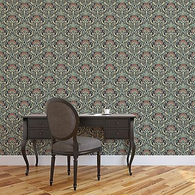 Archives Flora Nouveau Wallpaper Peacock Green - Crown M1196 Retro Floral