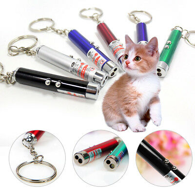 Funny 2-in-1 Laser Lazer Pen Pointer Keychain Keyring Torch Cat Dog Stick Toy UK