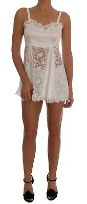 7e20fe212e3fc NEW  1120 DOLCE   GABBANA Dress White Silk Lace Lingerie Chemise s ...