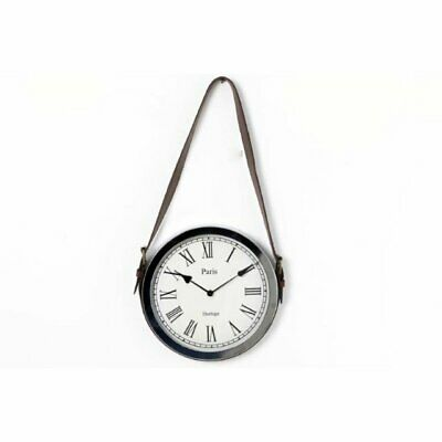 Silver Chrome Paris Wall Clock Roman Numeral Novelty Hanging Leather Belt Strap
