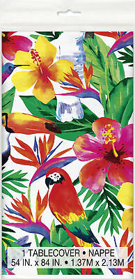 Hawaiian Palm Leaf Tropical Bird Parrot Toucan Tropical Flower Party Tablecover