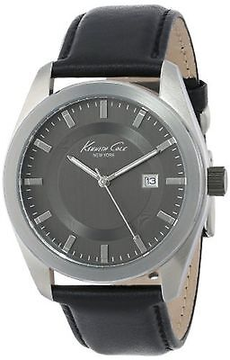 NEW Kenneth Cole New York KC8020 Mens Black Leather Dress Watch grey date buckle