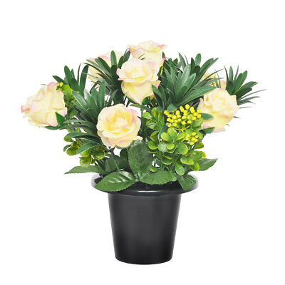 Grave Pot Artificial Open Rose With Berries 25cm Peach