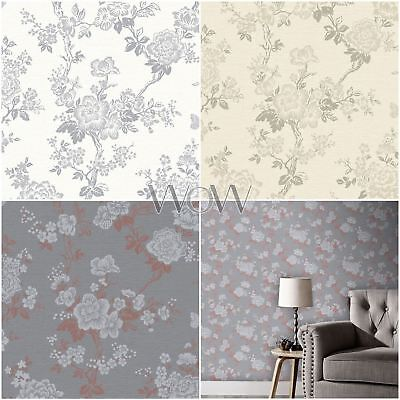 Paloma Glitter Blossom Tree Wallpaper Metallic Floral Flowers Rose Gold Silver
