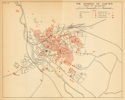 The Bombing of Exeter 3rd May 1942. World War 2. Luftwaffe 1957 old map