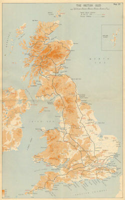 United Kingdom showing RAF Fighter Sector Stations, 1941. World War 2 1957 map