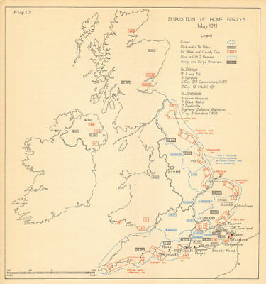 UK Home Forces disposition May 1941. Defence. Sealion. World War 2 1957 map