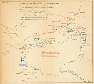 Adlertag Eagle Day pm 13th August 1940. Battle of Britain. World War 2 1957 map