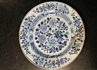Early 18th C Qing Chinese Porcelain Plate with Peonies & Chrysanthemums  C 1736+
