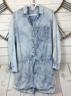 b47b23357d8 Anthropologie Cloth and Stone Striped Romper Roll Tab Sleeve 100% Tencel  Size M