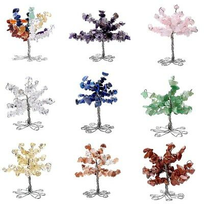 Chakra Gemstone Crystal Chip Beads Wrap Tree of Life Home Office Decor Ornament