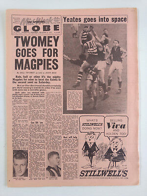1965 09 08 'TWOMEY GOES FOR MAGPIES' THE SPORTING GLOBE NEWSPAPER vfl afl