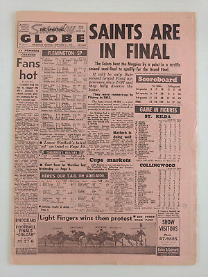 1965 09 11 'SAINTS ARE IN FINAL' THE SPORTING GLOBE NEWSPAPER vfl afl