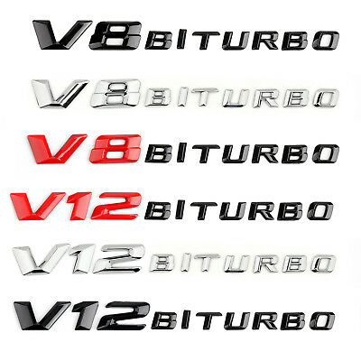 V8/V12 BITURBO Rear&Side Fender Emblem Badge Sticker for Benz S65 ML63 GLE63 G65