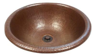 "15"" Round Copper Bath Sink Drop In Style in Brushed Sedona Lift & Turn Drain"