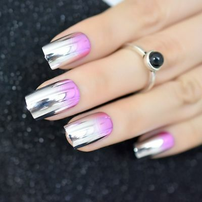 Pink Rose Metal Mirror Silver False Nails Metallic Punk Style Fake Nail Manicure